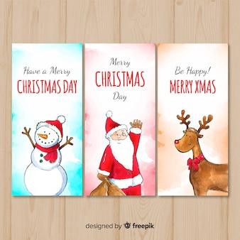 Adorável aquarela coleção de cartões de natal