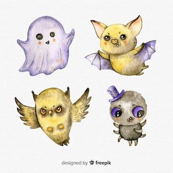 Adorável aquarela coleção de personagens de halloween