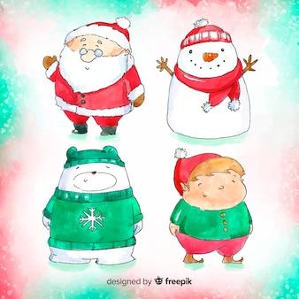 Adorável aquarela coleção de personagens de natal