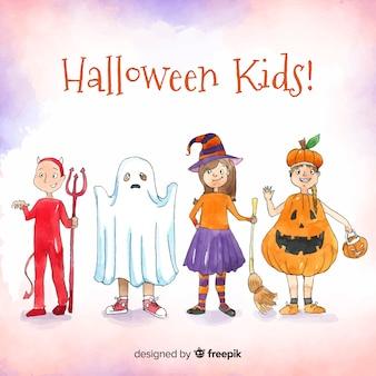 Adorável aquarela crianças do dia das bruxas