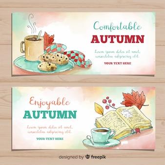 Adorável banners de outono bem-vindos aquarelas