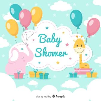 Adorável bebê chuveiro composição com design plano