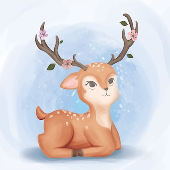 Adorável bebê deer look up aquarela