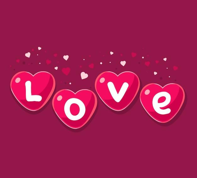 Adorável cartão de ícones de corações vermelhos