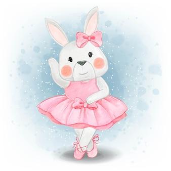 Adorável coelhinho dançando aquarela bailarina