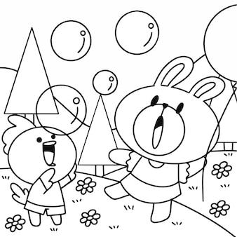 Adorável coelhinho e pintinho brincando ao ar livre na página do livro de colorir recurso de ilustração