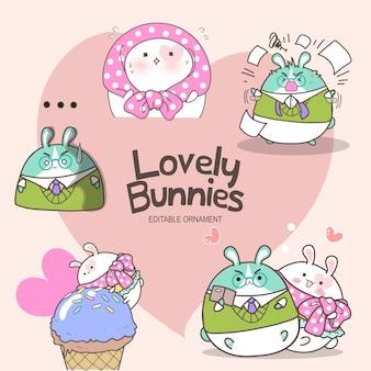 Adorável coelhinhos lírio