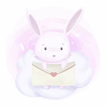 Adorável coelho e carta de amor