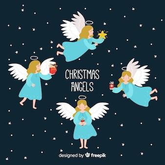 Adorável coleção de anjo de natal em design plano