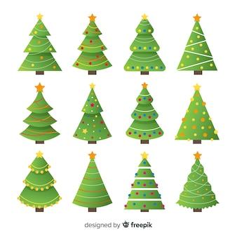 Adorável coleção de árvore de natal com design plano