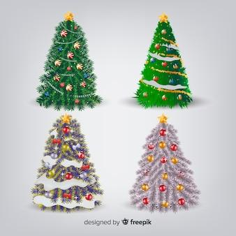 Adorável coleção de árvore de natal com design realista