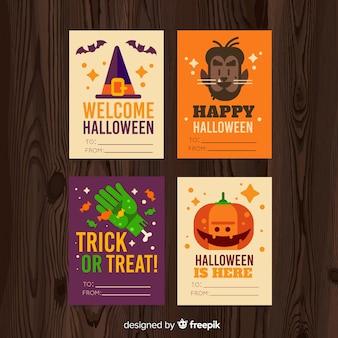 Adorável coleção de cartão de dia das bruxas com design plano