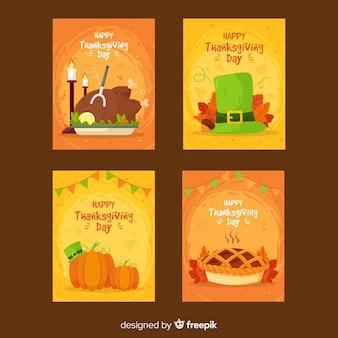 Adorável coleção de cartões de ação de graças