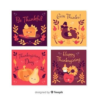 Adorável coleção de cartões de agradecimento com design plano