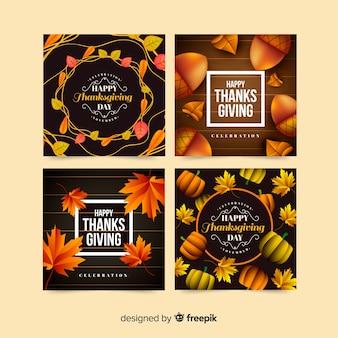Adorável coleção de cartões de agradecimento com design realista