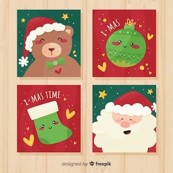 Adorável coleção de cartões de natal com design plano