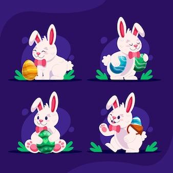 Adorável coleção de coelhinhos da páscoa