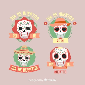 Adorável coleção de crachás dia de muertos