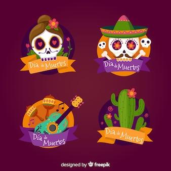 Adorável coleção de distintivo mexicano festividade com design plano