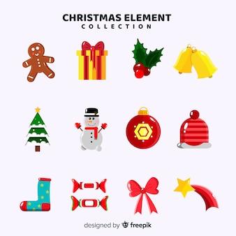 Adorável coleção de elementos de natal com design plano