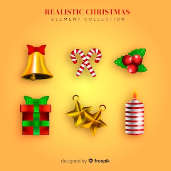 Adorável coleção de elementos de natal com design realista