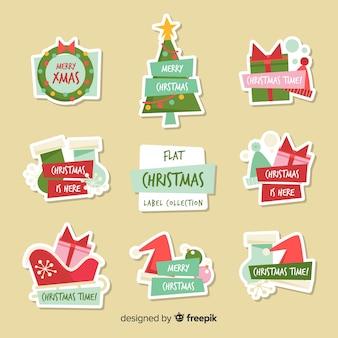 Adorável coleção de etiquetas de natal com design plano