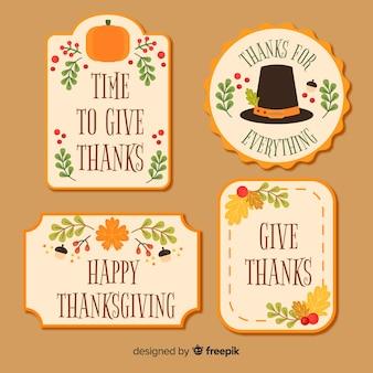 Adorável coleção de etiquetas do dia de ação de graças