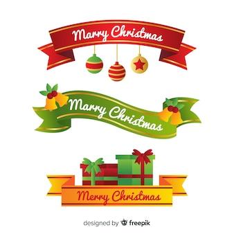 Adorável coleção de fita de Natal com design plano