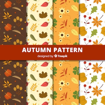 Adorável coleção de outono padrão com design plano