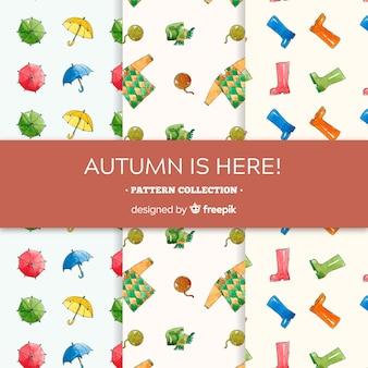 Adorável coleção de padrões de outono com roupas