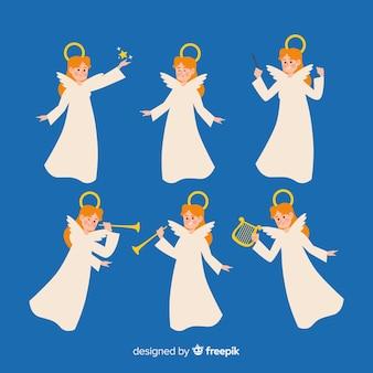 Adorável coleção de personagens de anjo de natal em design plano