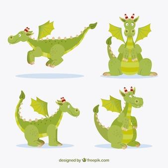 Adorável coleção de personagens de dragão com design plano