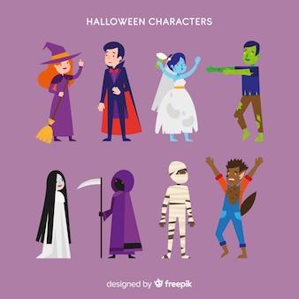 Adorável coleção de personagens de halloween com design plano