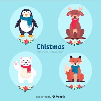 Adorável coleção de personagens de natal com design plano