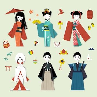 Adorável coleção de personagens de origami do japão com símbolos culturais