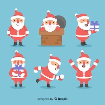 Adorável coleção de personagens de papai noel com design plano