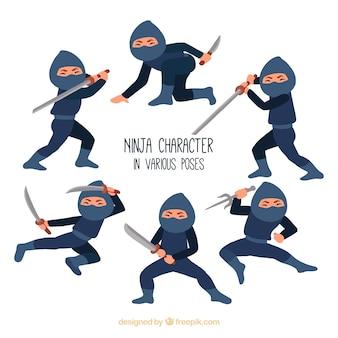 Adorável coleção de personagens ninja com design plano