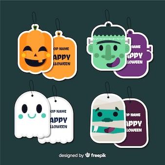 Adorável coleção de rótulo de halloween