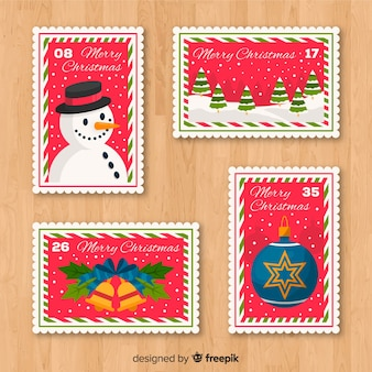 Adorável coleção de selos de natal com design plano