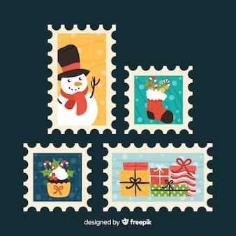 Adorável coleção de selos de natal