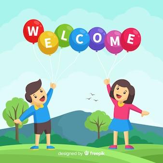 Adorável composição de boas-vindas com design plano