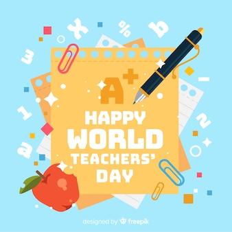 Adorável composição do dia dos professores do mundo com design plano