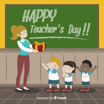 Adorável composição do dia dos professores do mundo com estilo desenhado mão