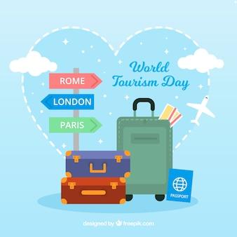 Adorável composição do mundo de turismo mundial