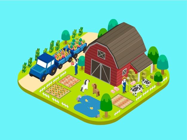 Adorável conceito de fazenda em gráfico isométrico