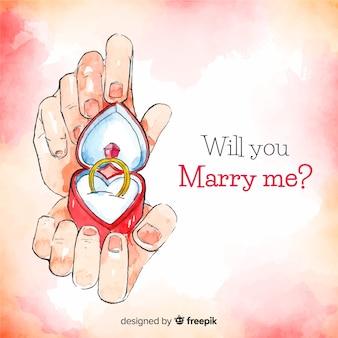 Adorável conceito de proposta de casamento em aquarela