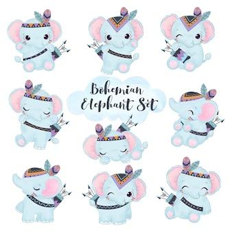 Adorável conjunto de ilustração de elefante boho