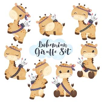 Adorável conjunto de ilustração de girafa boho