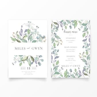 Adorável convite de casamento e modelo de menu