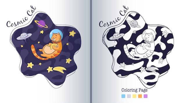 Adorável cosmonauta gato abraçando uma página para colorir de estrelas. estilo de desenho animado. astronauta animal desenhada de mão com ilustração de crianças estelares. vetor premium